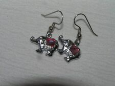 Estate Small Silvertone Elephant w Pink Mother of Pearl Blanket Dangle Earrings