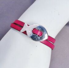 Handcrafted Fuchsia Leather with Silver Fish Slide Wrap Bracelet
