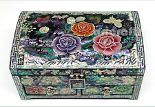 Mother of Pearl Inlaid Jewelry Box Storage Nacre Ring Sorter Chest Trinket Case