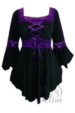 RENAISSANCE Gothic Victorian Peasant Black PURPLE Tie Back Corset Top Size 2X