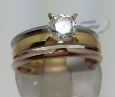 20 X 3Rings sets Zirconia Stainless Steel Rings wholesale wedding Jewelry
