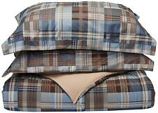WHITE RIVER BLUE PLAID Full / Queen COMFORTER SET : CABIN LODGE DOWN ALTERNATIVE