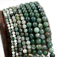 Natural Aquatic Agate Gemstone Stone Spacer Loose Round Beads Jewelry Finding