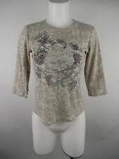 Nicole Miller Women's sz S Beige 3/4 Sleeve Rhinestone Crewneck T-Shirt Top