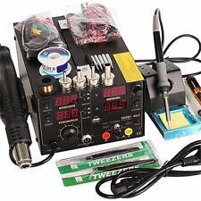 110V 4 In1 800W 909D+ Rework Soldering Station Hot Heat Air Gun USB Power Supply
