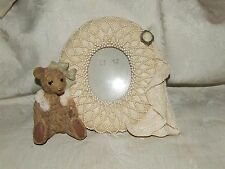 Lady Teddy Bear Figural Resin Frame Lace Cameo Pearls Table Top Victorian Style