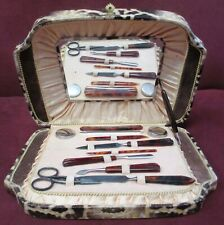 Old, 11-piece Manicure Set, with mirror and box