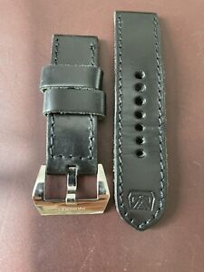 Officine Panerai 24mm Black Handmade Thick Leather Strap With Buckle.