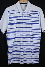 Nike Golf Mens Standard Dri-Fit Stripe Blue Polo Size L