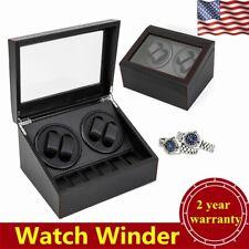 Display Case Box Organizer Black Usa Automatic Rotation Watch Winder 4+6 Storage