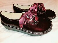 Alegria Abby Burgundy/ Plum Patent Leather Lace Up Shoes Size 39