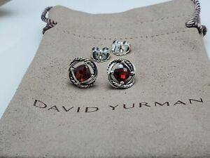 David Yurman Sterling Silver Infinity 7mm Garnet Earrings