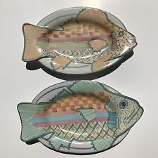 2 MacKenzie Childs Fish Platters Wall Hanging Majolica serving plate MINT