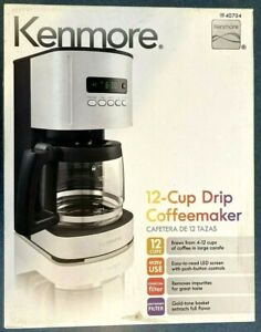 Kenmore 40704 12-Cup Programmable Coffee Maker Stainless Steel Grey LED Brew New