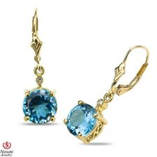 Diamond Accent Earrings with Blue Topaz in 10k Yellow Gold December Birthstone