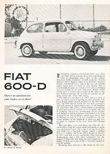 1962 Fiat 600-D 600 600D Original Road Test Article - M3113-PE1