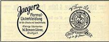 W. Benger Söhne Stuttgart JAEGER`S NORMAL-UNTERKLEIDUNG Historische Reklame 1912