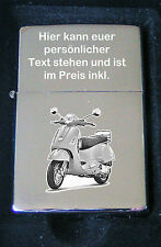 Vespa GTS Roller als Fotogravur Feuerzeug Vespa Geschenkidee inkl. Textgravur