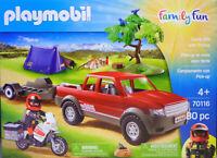 Playmobil 70116 Campingausflug Pick-Up Anhänger Motorrad Zelt Lagerfeuer NEU