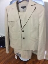 Ann Taylor Signature Womens Pant Suit 2 Piece Beige Jacket Size 4/pants Size 2