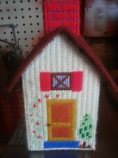 Vintage Cottage House Tissue Kleenex Box Cover Needlepoint