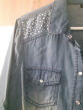 chemise jean bleu clou brillants col chemise manches longues 42 44 coton souple