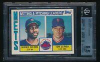 1984 Topps Mets TL Mookie Wilson Tom Seaver BGS 8.5 Blank Back