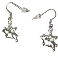 When Pigs Fly Silver Plated french hook dangle Earrings flying bacon foodie