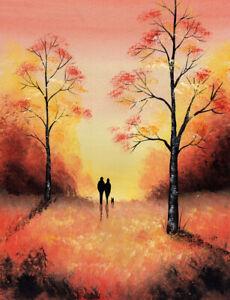 LANDSCAPE WATERCOLOUR PAINTING, Autumn Walk, Forest, Dog, Sarah Featherstone ART