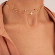 Gold Plated Pearl Choker Necklace Layering Bohemian Choker Chain Necklace EO