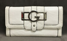 NEW GUESS WHITE YASMIN TRI-FOLD CHECKBOOK CLUTCH WALLET
