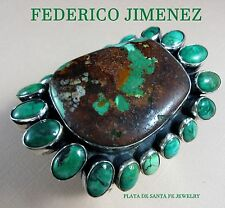 FEDERICO JIMENEZ~Massively HUGE/HEAVY~Turquoise Cluster 925 Cuff~7.43 OZ!