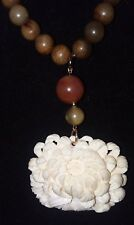 Old Chinese White Cinnabar lotus flower Pendant/Agate and Jade bead Necklace