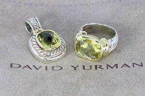 David Yurman 14K Yellow Gold Sliver Lemon Citrine Noblesse Ring Pendant Necklace