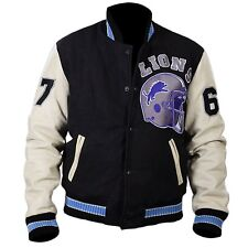 The Beverly Hill flics Detroit Lions 67 rugby wool jacket with leather sleeves