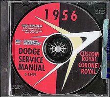 1956 Dodge Auto Manuale di Negozio CD Personalizzato Coronet Royal Lancer Wagon
