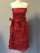 NEW Zara Red Silk Cocktail Evening Dress, Strapless, Raffle Skirt, Size M