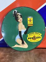 VINTAGE 1964 ''PENNZOIL'' HEAVY PORCELAIN SIGN 12 INCH GREAT SUBJECT MATTER!