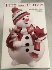 2003 Fitz & Floyd Collectible Woodland Snowman Lidded Box Tricket 9� Tall