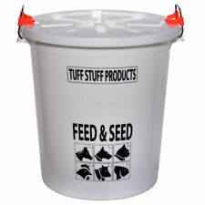 Tuff Stuff Products FS12 Seed and Animal Feed Drum Bucket with Lock Lid, White