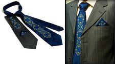 Ukrainian Neck Tie Handkerchief Set Embroidered Vyshyvanka Blue Color