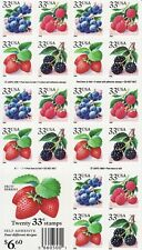 Fruit Berries Stamp Booklet - Usa #3297D 33 Cent