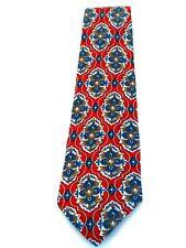Domani Red Blue Floral Design Men's Necktie Neck Tie Sleeved Silk USA