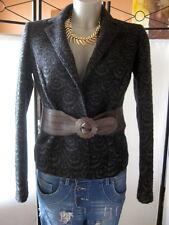 SANTACROCE Made in Italy Designer Walkjacke Blazer 38 gekochte Wolle Leder Neu