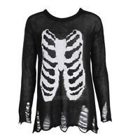 Fashion Women Halloween Skeleton Long Sleeve Ladies Knitted Sweater Long Jumper