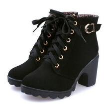 Damen Stiefeletten Boots Blockabsatz Stiefel Winterschuhe Gr35 36 37 38 39 40 41