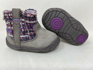 NEW! Stride Rite Surprize Toddler Girl's Adora Zip Up Booties Gry/Purp 142F r