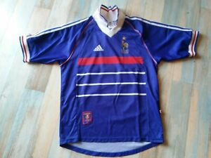 MAILLOT FOOT ADIDAS EQUIPE DE FRANCE MONDIAL 1998 N°10 ZIDANE TAILLE S/D3 TBE