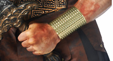 MENS ROMAN WARRIOR GREEK GLADIATOR COSTUME METAL STUD GOLD ARM WRIST CUFFS PAIR