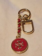 Tory Burch key charm chain purse fob  hanger charm red leather gold logo